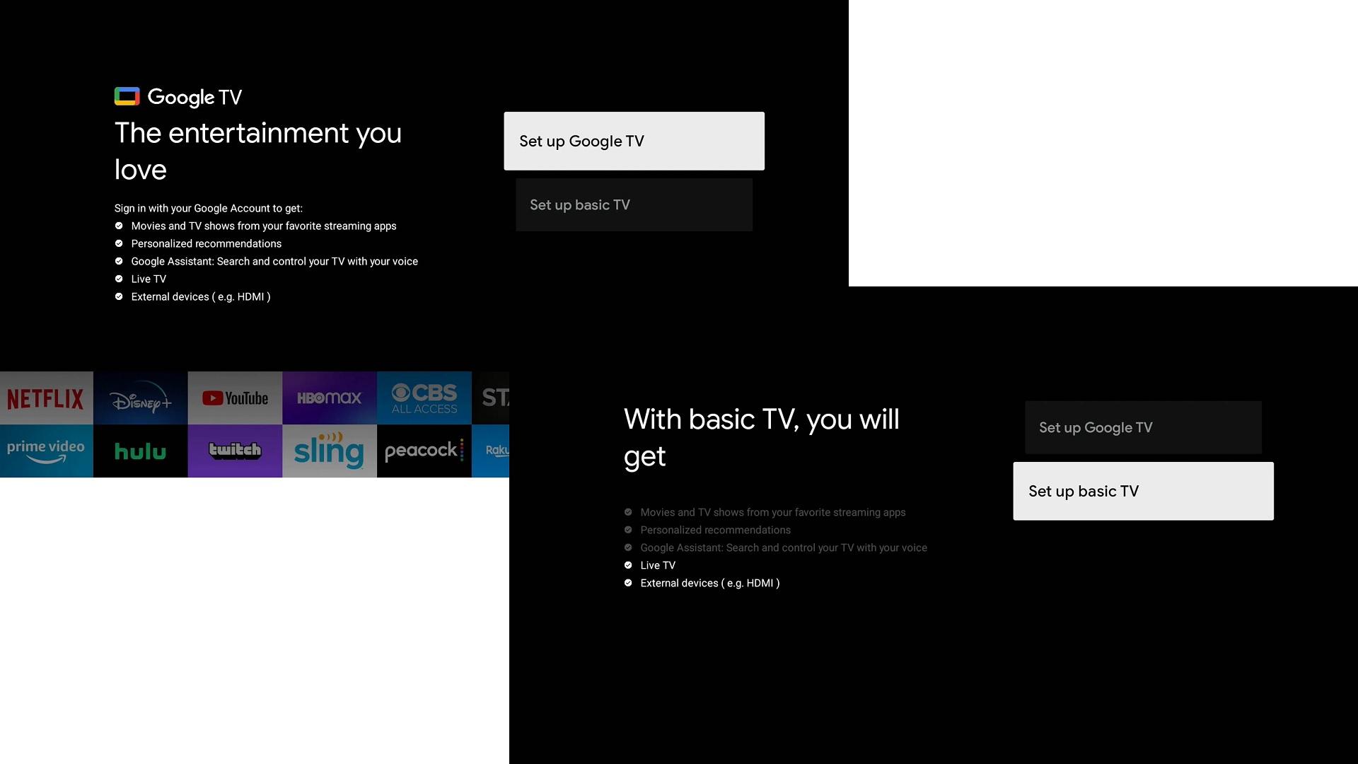 Google TV basic TV
