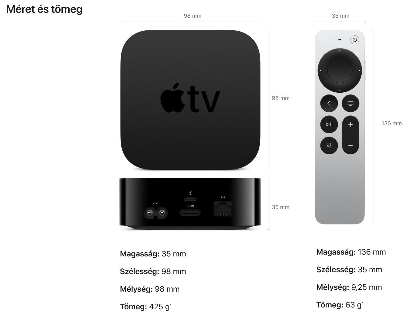 új Apple TV 4K specifikáció
