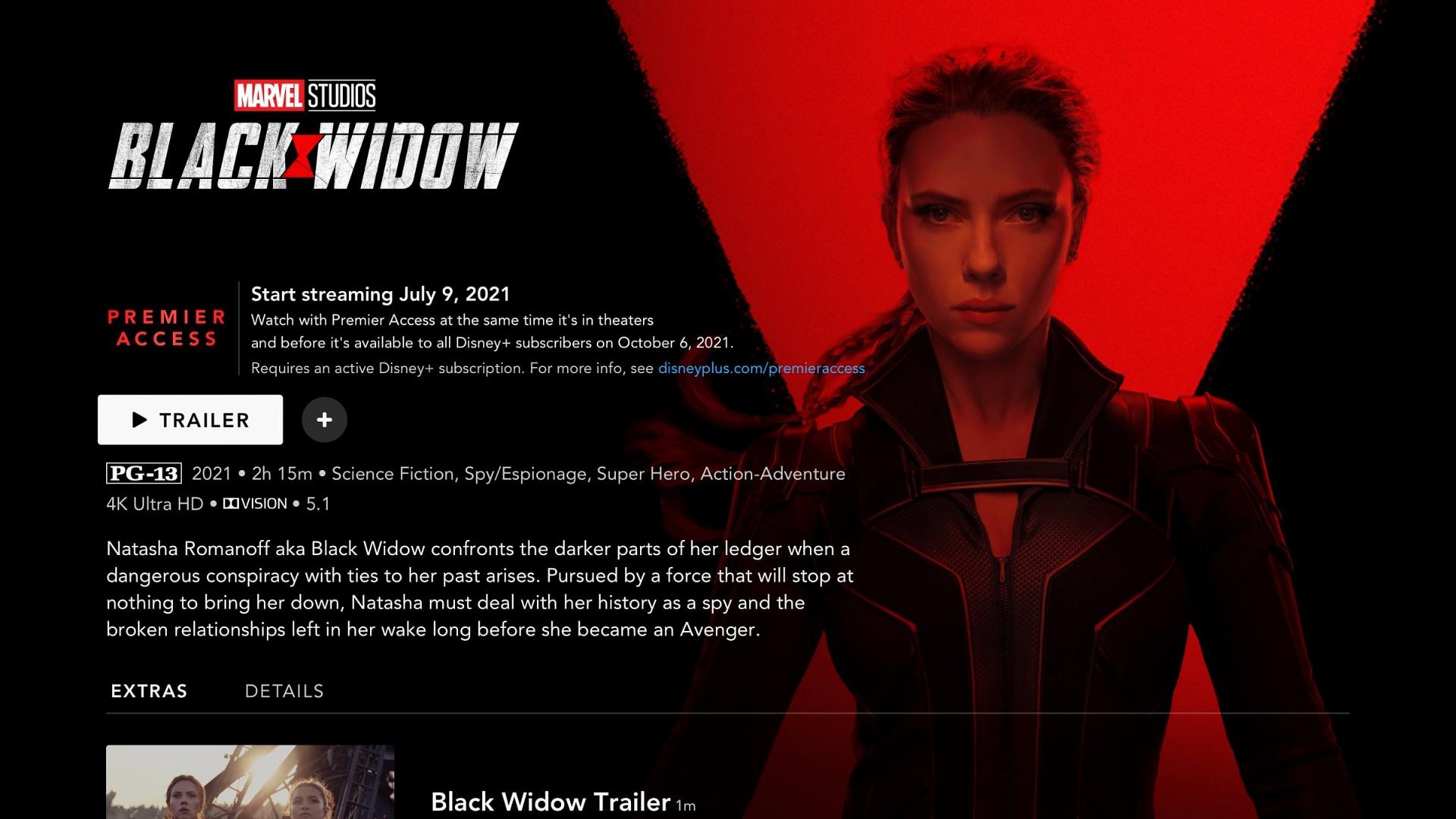 Disney+ Black Widow Premier Access