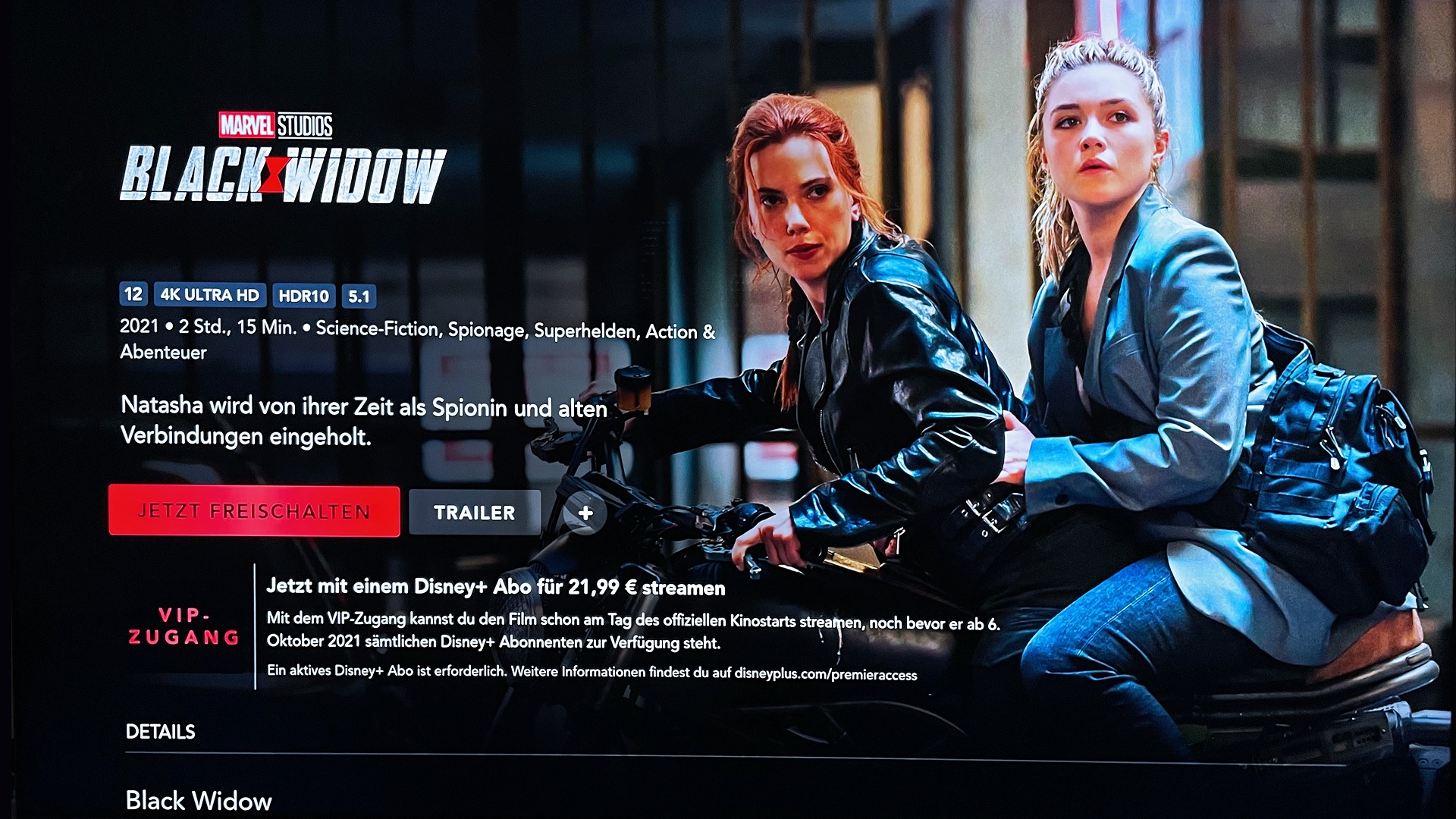 Disney+ Black Widow VIP-Zugang