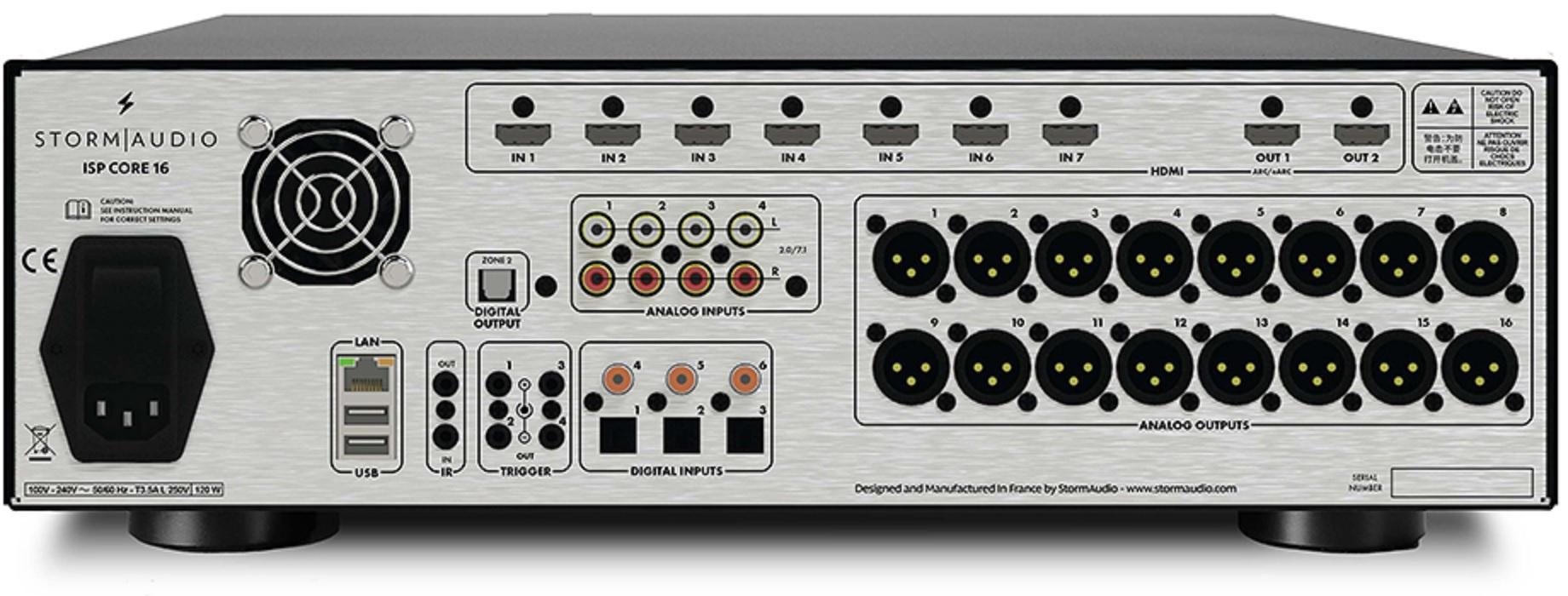 StormAudio ISP CORE 16 csatlakozók